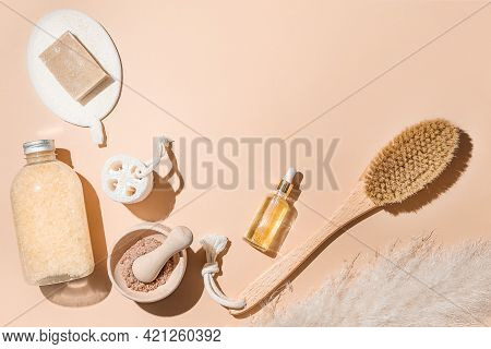Body Treatment And Spa Composition. Flat Lay With Natural Beauty Products. Eco Cream, Serum, Skin Ca
