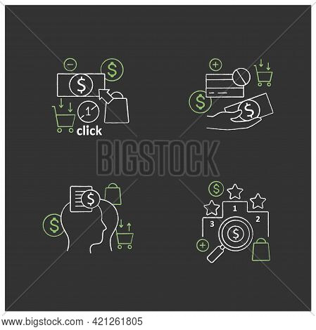 Mindful Spendings Chalk Icons Set. Rating, Accountability Partner, One Click Buying, Cash Using. Buy