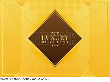 Golden Luxury Abstract Background With Frame And Stripes Abstract Gold Background, Square Frame, For