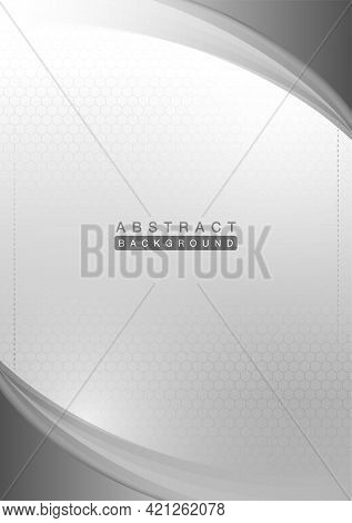 Curve And Light Silver, Gray Vector Layout Geometric With Line On Gradient, Abstract Background Vect