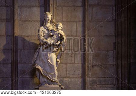 Paris, France, 1.11.2019 - Sculpture, Detail Of Gothic Interior Of Notre Dame De Paris Cathedral. To