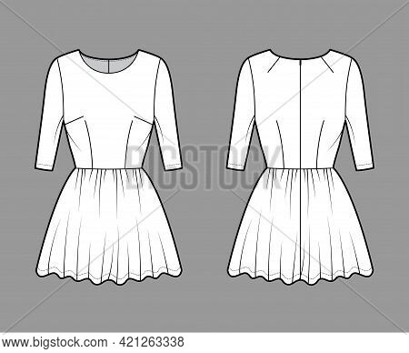 Dress Short Technical Fashion Illustration With Elbow Sleeve, Fitted Body, Mini Length Full Skirt. F