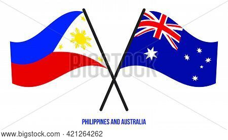 Tajikistan And Australia Flags Crossed And Waving Flat Style. Official Proportion. Correct Colors.