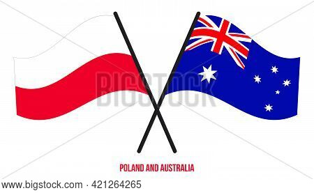 Poland And Australia Flags Crossed And Waving Flat Style. Official Proportion. Correct Colors.