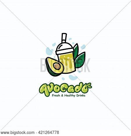 Avocado Milkshake Fresh Drink Logo Design Concept