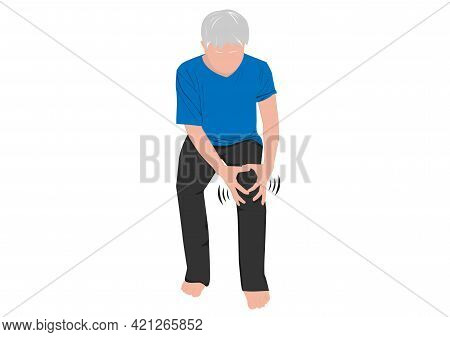 Graphics Image Elderly Grips Knee Painful Inflamed Knee Joint Suffering From Osteoarthritis Vector I