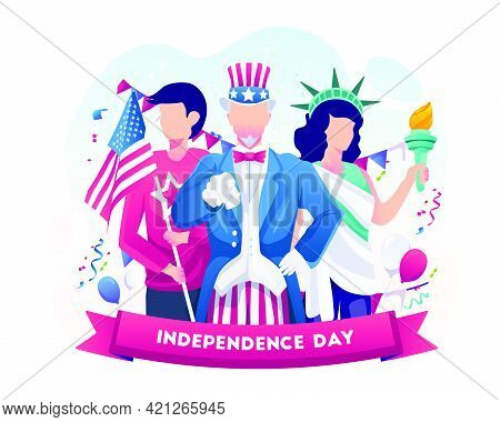 Uncle Sam, Man With Flag, And Woman With Liberty Outfit Celebrate National Independence Day 4th July