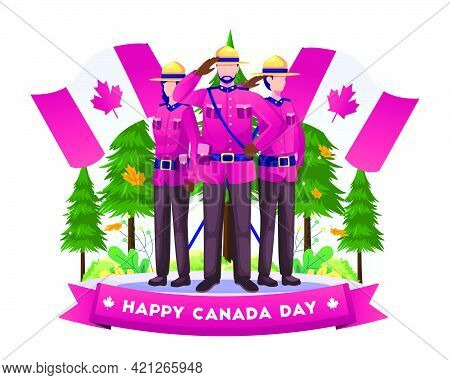 Canadian Soldiers Standing Respectfully Celebrate Canada Independence Day With National Flags On 1st