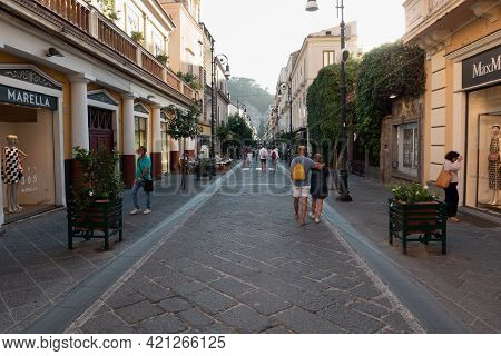 Sorrento, Italy- August 26 2020: Corso Italia Main Shopping Street And Pedestrian Zone In Summer.