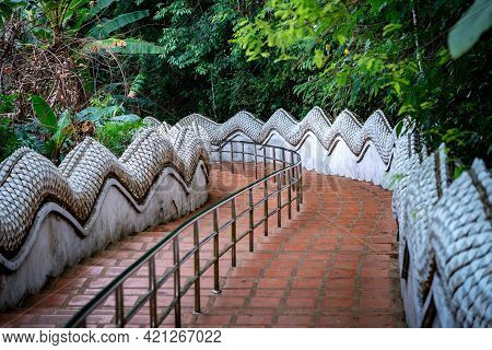 Stairs Way In The Jungle Environment, At Wat Phra That Doi Tung Temple, Chiang Rai Province, North O