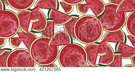 Watermelon Seamless Pattern, Hand-drawn Juicy Watermelon Slices And Watermelons On White. National W