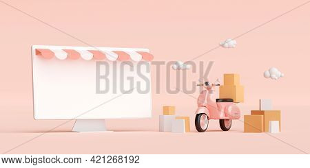 E-commerce Concept, Shopping And Delivery Service Online, Transportation Or Food Delivery By Scooter