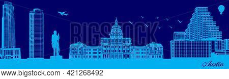 Vector City Skyline Silhouette - Illustration,  Town In Blue Background,  Austin Texas