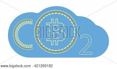 Energy Consumption Design. Bitcoin Carbon Footprint Concept. Bitcoin Is Harmful To Nature. Bitcoin's