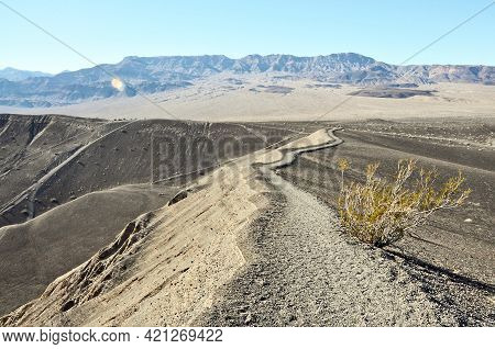 Dirt Trail Along Perimeter Of Ubehebe Crater In Death Valley