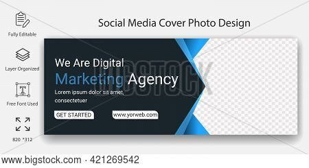 Digital Marketing Agency Social Media Header Banner Or Cover Page Template Design. Online Business B