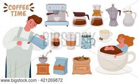 Barista And Coffee Maker. Tools For Brewing Cappuccino, Espresso, Cream, Cups With Hot Breakfast Dri