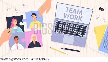 Team Work Management. Leader Connect Employees For Effective Teamwork. Office Desk Top View, Hands A
