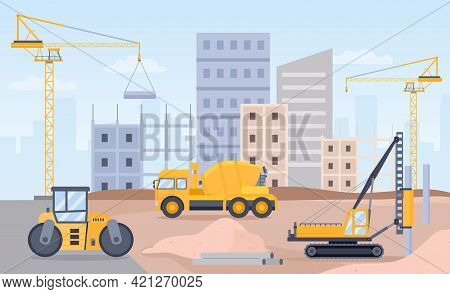 Construction Site. Landscape Of Building Process With Crane, Bulldozer, Excavator And Concrete Mixer