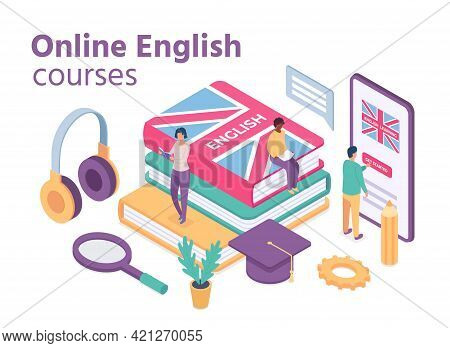 Isometric English Courses. Online Foreign Language School With Student Learn Vocabulary And Reading