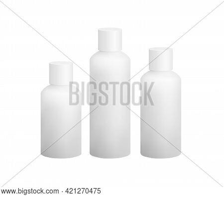 White Plastic Hdpe Bottle Mockup Vector Eps10