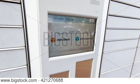 Bordeaux , Aquitaine France - 05 18 2021 : La Poste Pickup Station Colissimo Chronopost City Termina