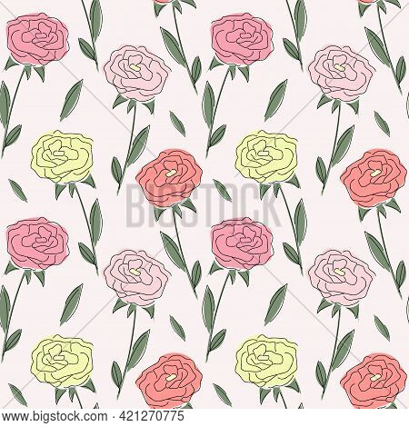 Yellow, Pink And Red Roses With Line Art. Seamless Vector Pattern For Wallpaper And Fabric