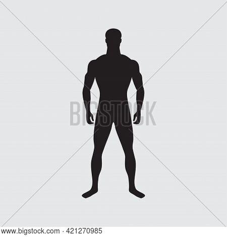Black Human Silhouette. Standard Male Figure. Standing Slender Man Isolated. Male Gender. Correct Ph