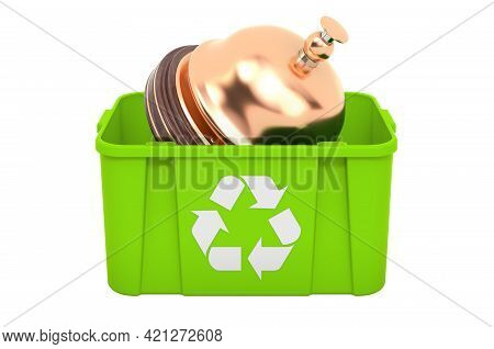Recycling Trashcan With Reception Bell, 3d Rendering Isolated On White Background