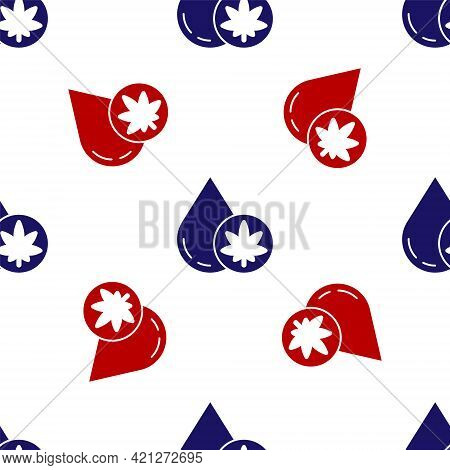 Blue And Red Medical Marijuana Or Cannabis Leaf Olive Oil Drop Icon Isolated Seamless Pattern On Whi