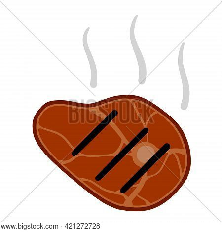 Fried Meat. Steak And Barbecue Of A Strong Roast. Piece Of Food Slice. Flat Cartoon Illustration