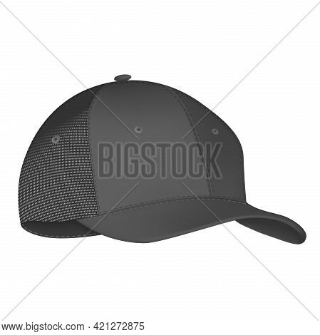 Baseball Cap Black And White Template. Design Template Closeup In Vector. Realistic Back Front And S