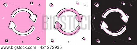 Set Refresh Icon Isolated On Pink And White, Black Background. Reload Symbol. Rotation Arrows In A C