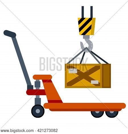 Cart With Crates. Industrial Shipping. Hook With Box. Loading, Storage And Logistics Crane In Wareho