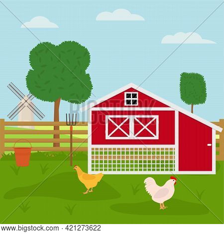Chicken Farm With Chicken Coop. Flat Vector Illustration