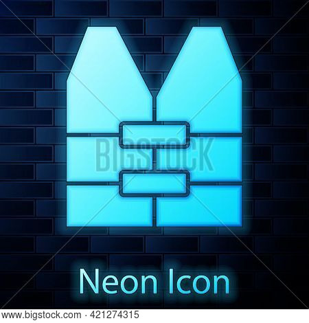 Glowing Neon Life Jacket Icon Isolated On Brick Wall Background. Life Vest Icon. Extreme Sport. Spor