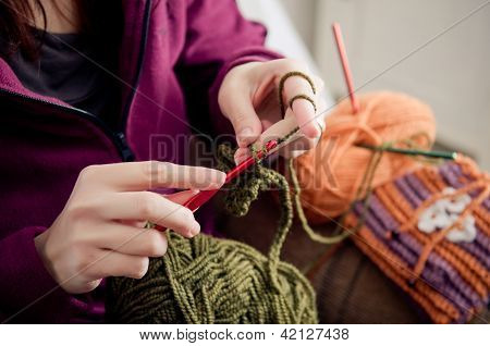 Crocheting Hands
