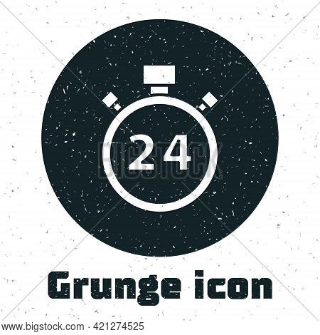 Grunge Stopwatch 24 Hours Icon Isolated On White Background. All Day Cyclic Icon. 24 Hours Service S
