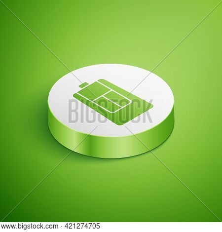 Isometric Car Key With Remote Icon Isolated On Green Background. Car Key And Alarm System. White Cir
