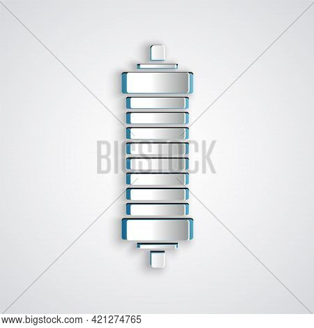 Paper Cut Shock Absorber Icon Isolated On Grey Background. Paper Art Style. Vector