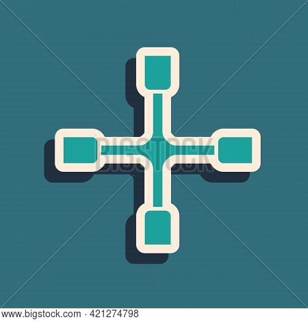 Green Wheel Wrench Icon Isolated On Green Background. Wheel Brace. Long Shadow Style. Vector