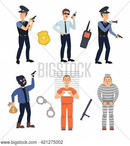 Policemen And Criminals Vector Illustrations Set. Police Officers, Burglar With Gun, Arrested Charac