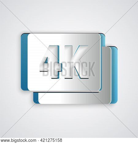 Paper Cut 4k Ultra Hd Icon Isolated On Grey Background. Paper Art Style. Vector