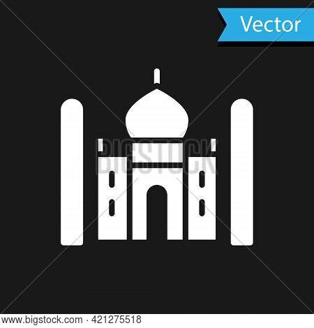 White Taj Mahal Mausoleum In Agra, Indiaicon Isolated On Black Background. Vector