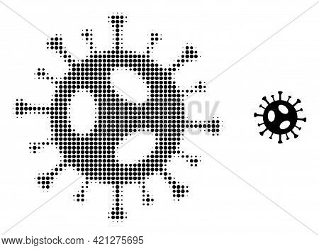 2019-ncov Virus Halftone Dotted Icon Illustration. Halftone Pattern Contains Circle Dots. Vector Ill