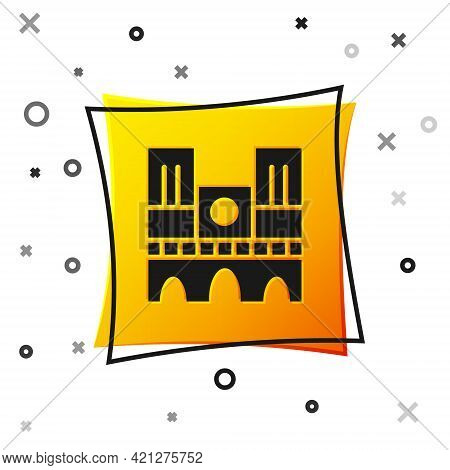 Black Landmark Of France Notre Dame De Paris Icon Isolated On White Background. Yellow Square Button