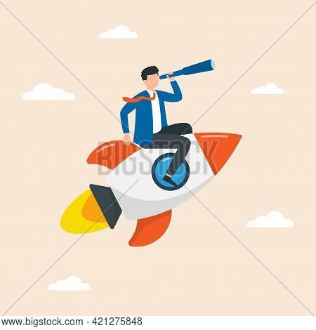 Businessman With Spyglass Flying On Rocket. Start Up Business Concept. Development Of Startup, Caree