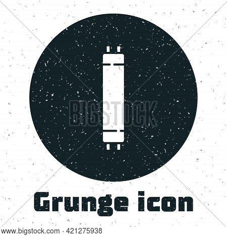 Grunge Long Luminescence Fluorescent Energy Saving Lamp Icon Isolated On White Background. Monochrom