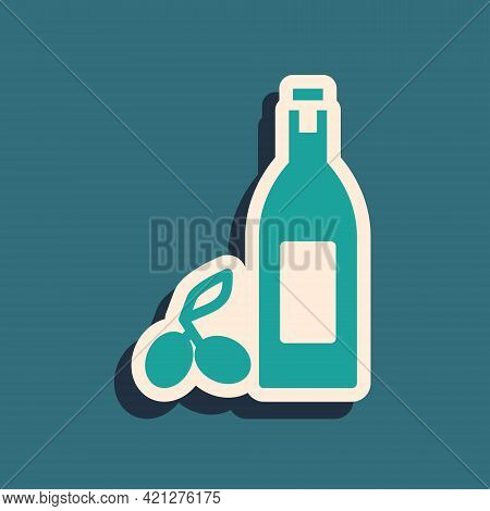 Green Bottle Of Olive Oil Icon Isolated On Green Background. Jug With Olive Oil Icon. Long Shadow St