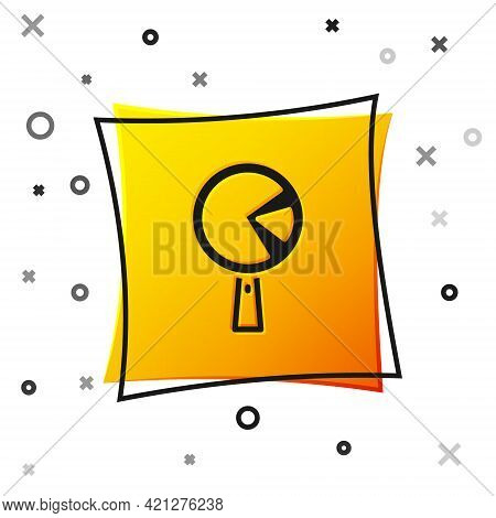 Black Omelette In Frying Pan Icon Isolated On White Background. Omelet In A Skillet. Yellow Square B